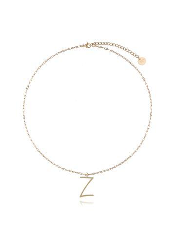 Naszyjnik ze stali szlachetnej złoty literka Z mała NAT0167