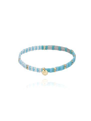 Bransoletka elastyczna niebiesko szara BLB0094