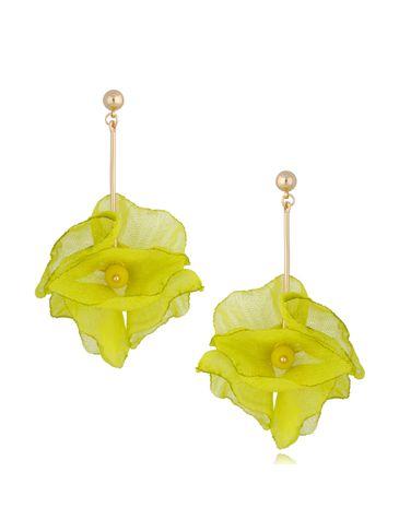 Kolczyki kwiaty neonowe żółte KBL0685