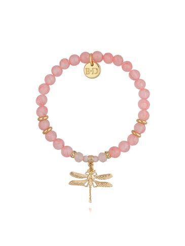 Bransoletka różowa z jadeitami i złotą ważką BMMH3883