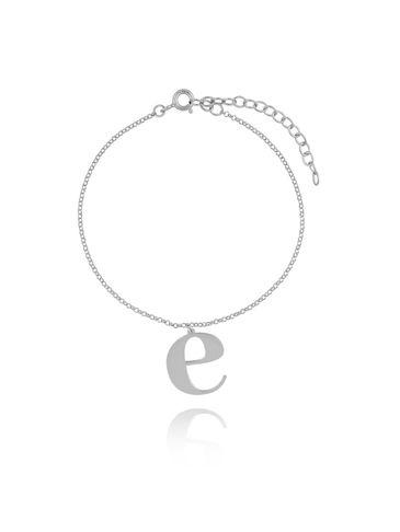 Bransoletka srebrna z literką E BAT0075