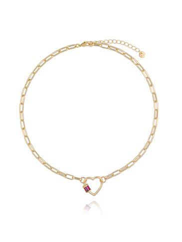 Naszyjnik złoty łańcuch z sercem NSL0001