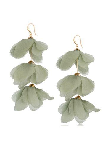 Kolczyki jedwabne kwiaty potrójne zielone KBL0795