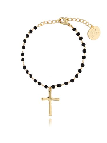 Bransoletka złota z kryształkami i krzyżykiem BRG0098