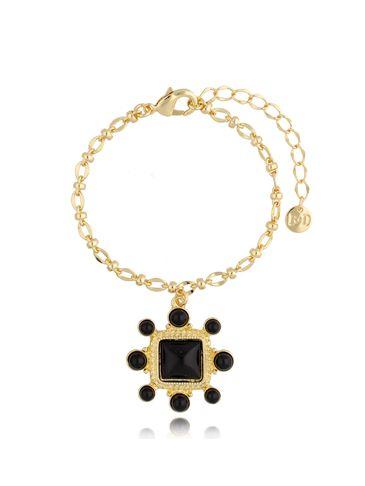Bransoletka złota z czarną zawieszką BTO0002