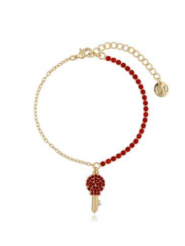 Bransoletka złota z czerwonymi kryształkami i kluczykiem BMU0019