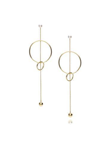 Kolczyki długie złote z łańcuszkiem i kółkami KRG0708
