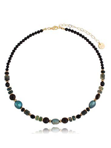 Naszyjnik wielobarwny z perłami i agatami NPA0386