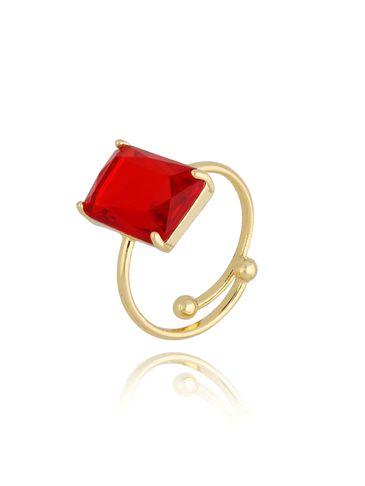 Pierścionek złoty z czerwonym kryształowym oczkiem PTO0011