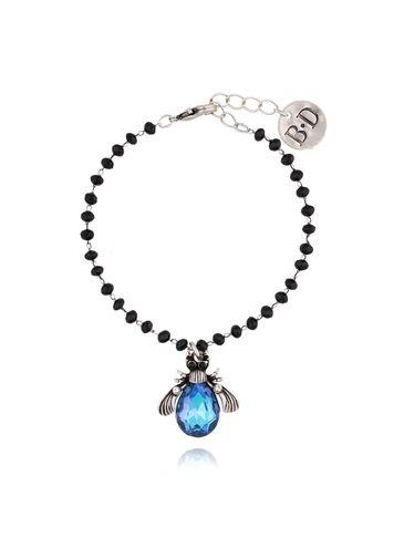 Bransoletka niebieski żuk z kryształkami BMI0030