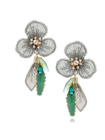 Kolczyki zielone kwiaty z kryształkami i emalią KLI0007