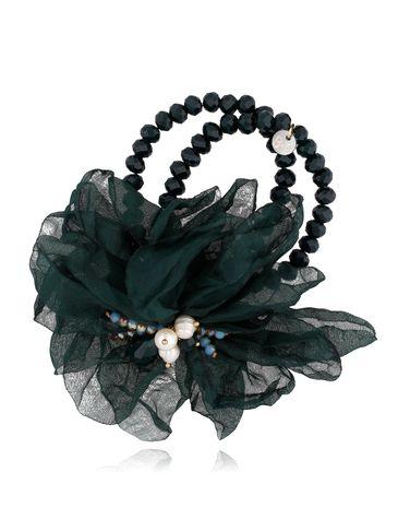 Bransoletka z kryształkami i ciemno zielonym kwiatem BBL0136