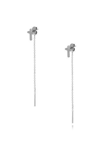Kolczyki srebrne krzyżyki z łańcuszkiem KSA0188