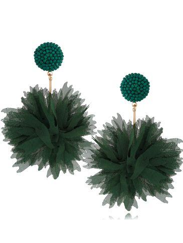 Kolczyki jedwabne kwiaty zielone KBL0681