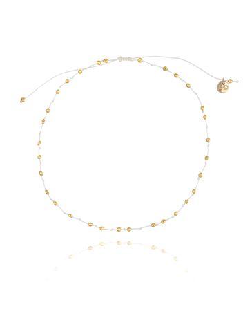 Bransoletka na nogę biały sznurek ze złotym hematytem BNSC0029 rozmiar L, XL