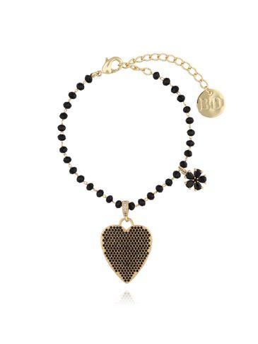 Bransoletka ze szklanymi kryształkami i czarnym sercem BMU0016