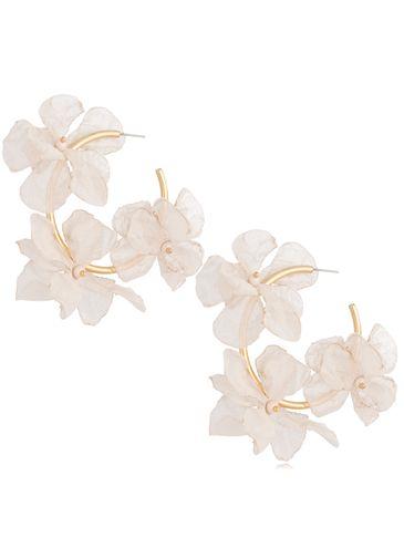Kolczyki jedwabne kwiaty beżowe KBL0696