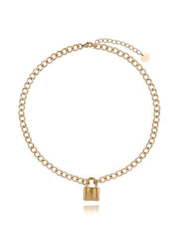 Naszyjnik złoty łańcuch z kłódką ze stali szlachetnej NSA0125