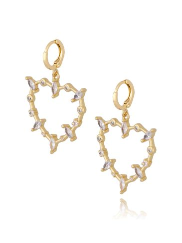 Kolczyki serca złote z transparentnymi cyrkoniami KRG0592