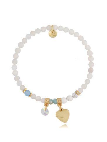 Bransoletka z kamieniem księżycowym Little White Heart BMMH3978