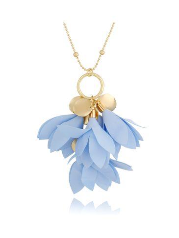 Naszyjnik złoty z kwiatem błękitnym NBL0029