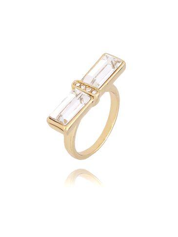 Pierścionek złoty z przezroczystymi kryształkami PRG0114 rozmiar 15