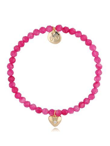 Bransoletka różowa z agatami i zawieszką serduszko z cyrkonią BTW0482