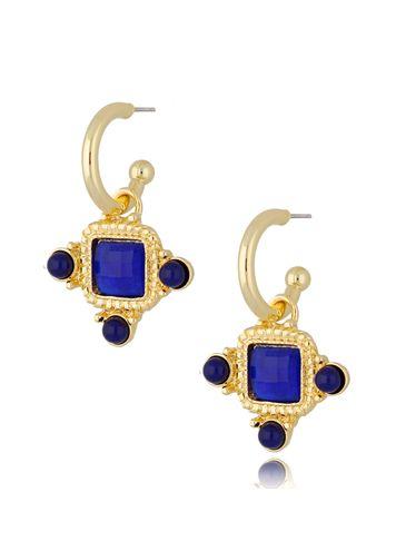 Kolczyki kryształowe wiszące niebieskie Renesans KTO0033