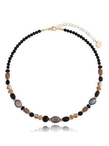 Naszyjnik z perłami, agatami i jaspisem Ann NPA0436