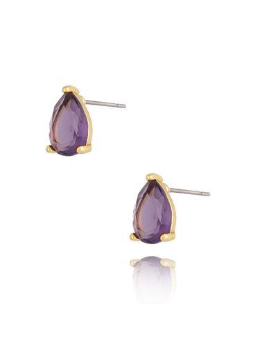 Kolczyki kryształowe fioletowe łezki Emily KTO0020