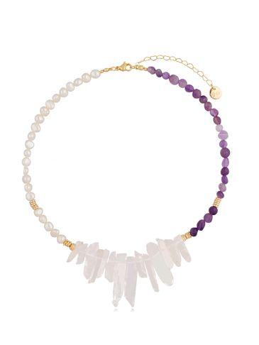 Naszyjnik z perłami, ametystami i kryształami Violet and Pearl NPA0413
