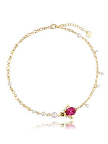 Naszyjnik żuk fuksjowy z perłami NMI0102