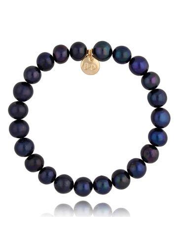 Bransoletka granatowa z perłami BPE0043
