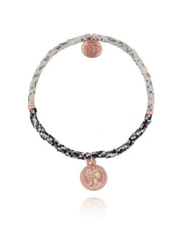Bransoletka szara z monetką z różowego złota BSC0723