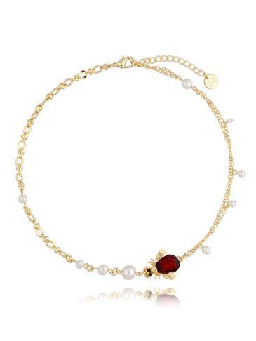 Naszyjnik żuk bordowy z perłami NMI0104