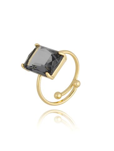 Pierścionek złoty z szarym kryształowym oczkiem PTO0015