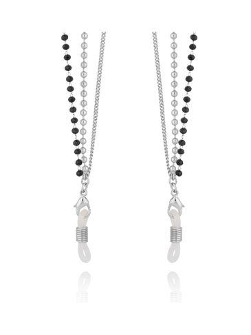 Łańcuszek do okularów z czarnymi kryształkami srebrny NRG0350