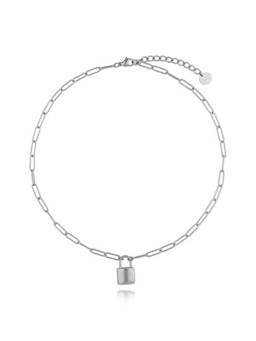 Naszyjnik srebrny łańcuch z kłódką ze stali szlachetnej NSA0122