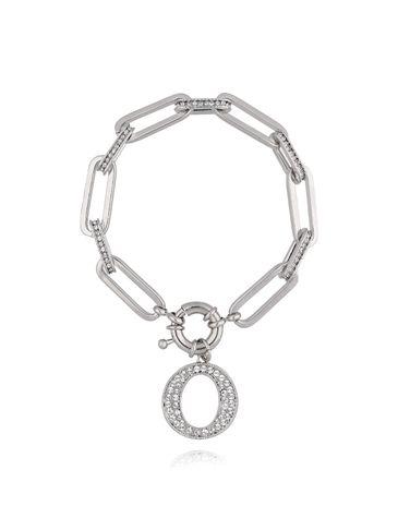 Bransoletka srebrny łańcuch z okrągłą zawieszką BRG0111