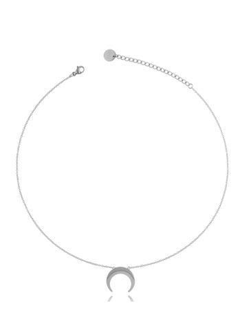 Naszyjnik srebrny ze stali szlachetnej z księżycem NSA0167