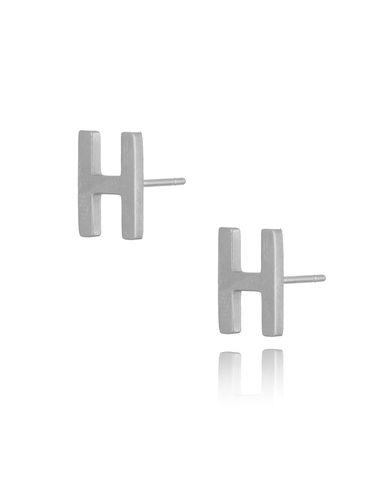 Kolczyki wkrętki srebrne z literką  H KAT0051
