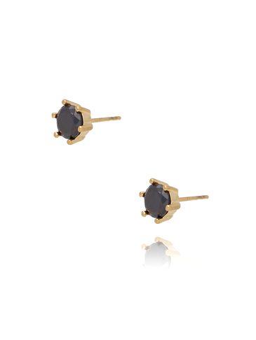 Kolczyki złote z czarną cyrkonią ze stali szlachetnej KSA0120