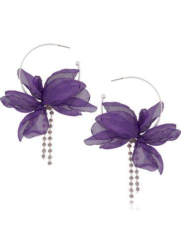 Kolczyki jedwabne kwiaty fioletowe KBL0415