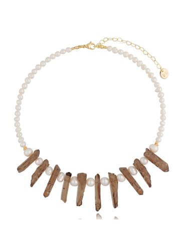 Naszyjnik z perłami i kwarcami dymnymi NPA0399