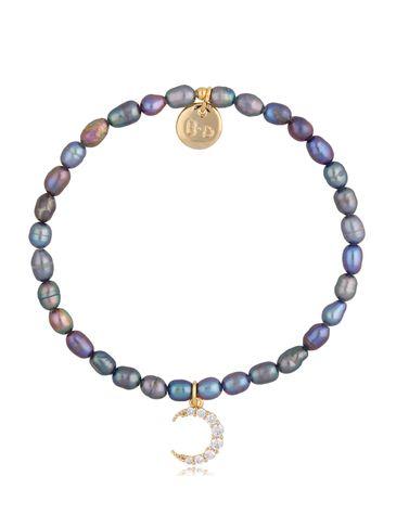 Bransoletka fioletowo-seledynowa z perłami i zawieszką księżyc BPE0047