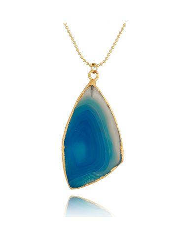 Naszyjnik z niebieskim agatem NLB0046