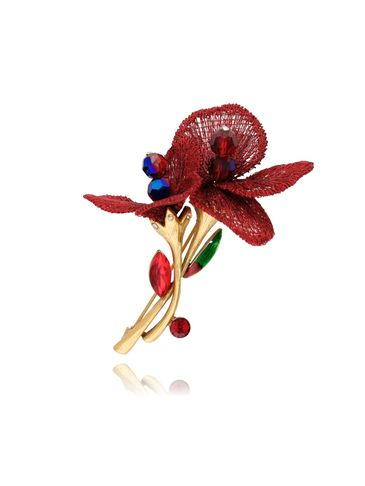 Broszka czerwone kwiaty z kryształkami BRLI0004