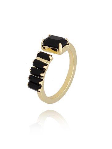 Pierścionek złoty z kryształkami PRG0186 rozmiar 17