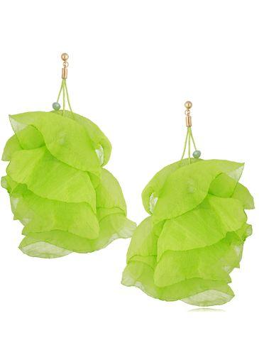 Kolczyki jedwabne kwiaty neonowe zielone KBL0846