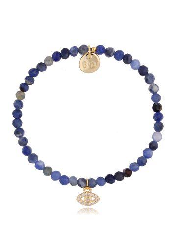 Bransoletka niebieska z szafirami i zawieszką oko z cyrkoniami BTW0483